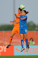 Yael Averbuch (13) of Sky Blue FC and Laura del Rio (16) of the Boston Breakers go up for a header. Sky Blue FC and the Boston Breakers played to a 0-0 tie during a Women's Professional Soccer (WPS) match at Yurcak Field in Piscataway, NJ, on May 29, 2010.
