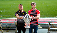 Monday 11th November 2019<br /> <br /> Carrickfergus RFC Captain Johnny Sheriff and City of Armagh RFC 2s Captain John Faloon pictured at the Semi-Final draw of this seasons MMW Legal Ulster Junior Cup which was held at Kingspan Stadium, Ravenhill Park, Belfast, Northern Ireland. Photo credit - John Dickson DICKSONDIGITAL