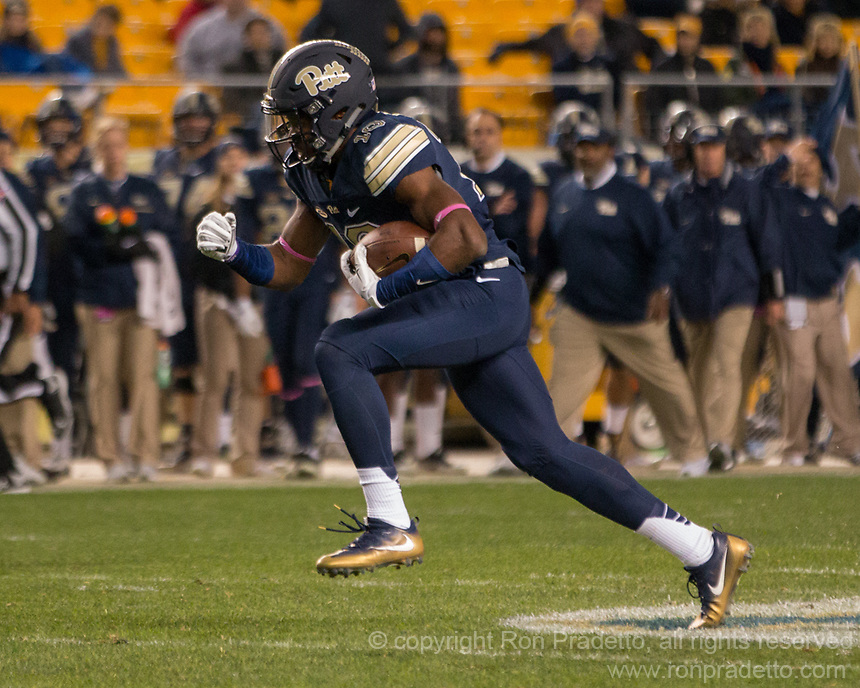Pitt wide receiver Dontez Ford. The Virginia Tech Hokies defeated the Pitt Panthers 39-36 on October 27, 2016 at Heinz Field in Pittsburgh, Pennsylvania.
