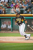 Alfredo Marte (21) of the Salt Lake Bees at bat against the Oklahoma City Dodgers in Pacific Coast League action at Smith's Ballpark on May 27, 2015 in Salt Lake City, Utah.  (Stephen Smith/Four Seam Images)