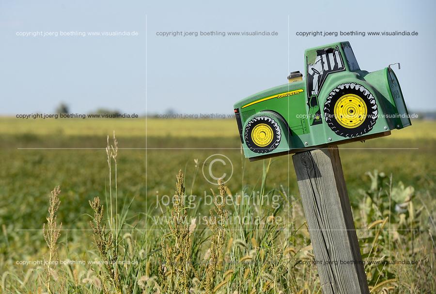 USA, Iowa, Soy bean field and John Deere tractor letterbox of farmer