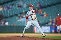 Arkansas Razorbacks relief pitcher Peyton Pallette (36) in action against the Oklahoma Sooners in game two of the 2020 Shriners Hospitals for Children College Classic at Minute Maid Park on February 28, 2020 in Houston, Texas. The Sooners defeated the Razorbacks 6-3. (Brian Westerholt/Four Seam Images)