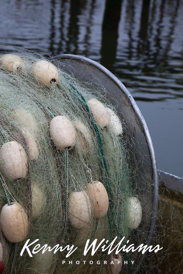 Fishing Net on Commercial Trawling Fishing Boat, Astoria Marina, Oregon, OR, America, USA.