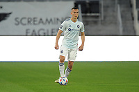 WASHINGTON, DC - MAY 13: Boris Sekulic #2 of Chicago Fire FC dribbles the ball during a game between Chicago Fire FC and D.C. United at Audi FIeld on May 13, 2021 in Washington, DC.