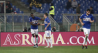 Calcio, Serie A: AS Roma - Sampdoria, Roma, stadio Olimpico, 28 gennaio 2018. i<br /> Sampdoria's Duvàn Zapata (l) celebrates after scoring with his teammates during the Italian Serie A football match between AS Roma and Sampdoria at Rome's Olympic stadium, January 28, 2018.<br /> UPDATE IMAGES PRESS/Isabella Bonotto