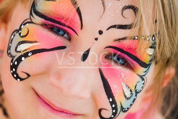 Cassidy Vote horizontal girl face painted portrait lifestyle white caucasian female child childhood kid person 4 5 6 7 years paint painting makeup make up make-up cosmetic carnival festival festive festivity festivities art artwork artistic creative creativity colorful colourful fun
