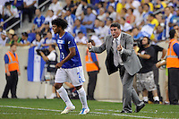 Honduras  head coach Luis Suarez talks with Mario Martinez (7). The men's national teams of Colombia (COL) defeated Honduras (HON) 2-0 during an international friendly at Red Bull Arena in Harrison, NJ, on September 03, 2011.