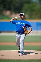 Toronto Blue Jays pitcher Jonatan Bernal (53) during an Instructional League game against the Philadelphia Phillies on September 27, 2019 at Englebert Complex in Dunedin, Florida.  (Mike Janes/Four Seam Images)