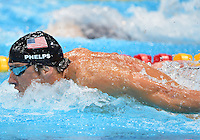 August 02, 2012..Michael Phelps compete in Men's 100m Butterfly Semifinal at the Aquatics Center on day six of 2012 Olympic Games in London, United Kingdom.