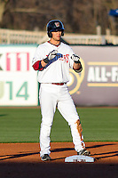 Wisconsin Timber Rattlers catcher Max McDowell (21) stands on second base following a double during a Midwest League game against the Lansing Lugnuts on April 29th, 2016 at Fox Cities Stadium in Appleton, Wisconsin.  Wisconsin defeated Lansing 2-0. (Brad Krause/Four Seam Images)