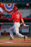 Palm Beach Cardinals right fielder Dylan Carlson (19) follows through on a swing during a game against the Florida Fire Frogs on May 1, 2018 at Osceola County Stadium in Kissimmee, Florida.  Florida defeated Palm Beach 3-2.  (Mike Janes/Four Seam Images)