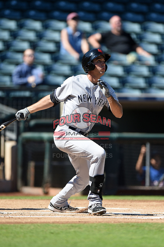 Scottsdale Scorpions infielder Greg Bird (20) during an Arizona Fall League game against the Surprise Saguaros on October 11, 2014 at Surprise Stadium in Surprise, Arizona.  Scottsdale defeated Surprise 7-6.  (Mike Janes/Four Seam Images)