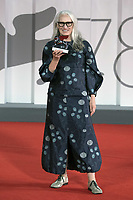 """Director Jane Campion poses with the Silver Lion for Best Director for """"The Power Of The Dog"""" during the Winners Red Carpet as part of the 78th Venice International Film Festival in Venice, Italy on September 11, 2021. <br /> CAP/MPI/IS/PAC<br /> ©PAP/IS/MPI/Capital Pictures"""