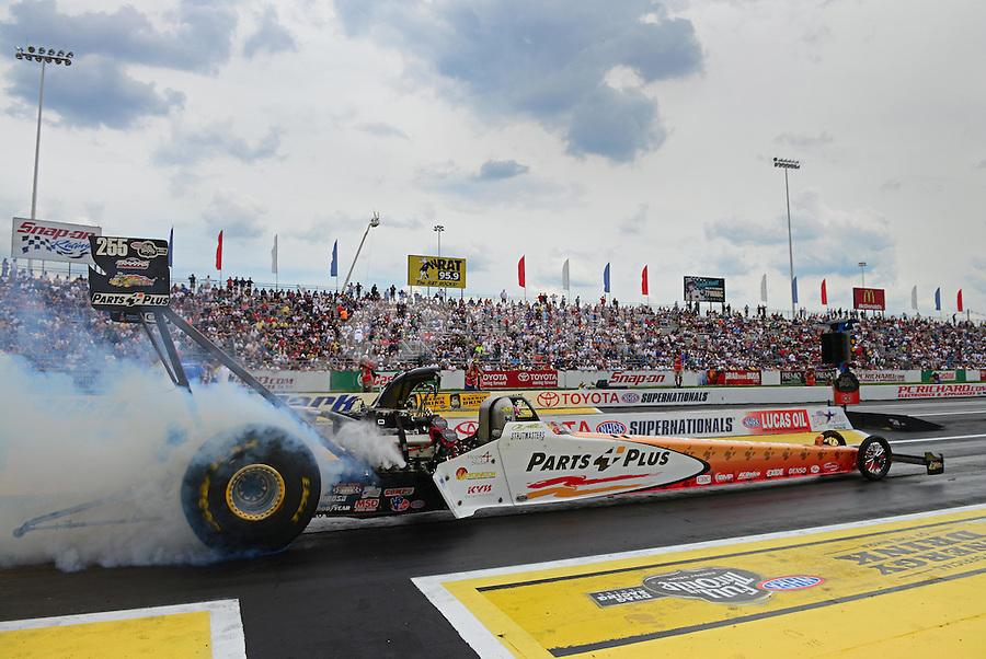 Jun. 3, 2012; Englishtown, NJ, USA: NHRA top fuel dragster driver Clay Millican during the Supernationals at Raceway Park. Mandatory Credit: Mark J. Rebilas-