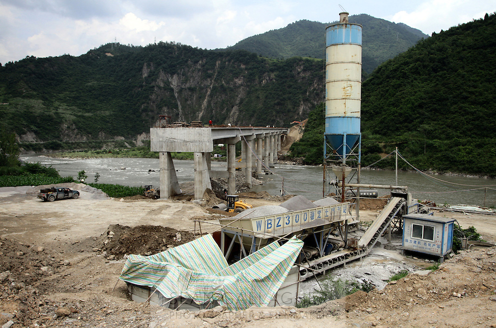 A highway under construction in the mountains near Pingwu County in Sichuan Province, south-west China.