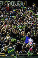 Bath Rugby fans cheer as they score a try during the LV= Cup semi final match between Bath Rugby and Leicester Tigers at The Recreation Ground, Bath (Photo by Rob Munro, Fotosports International)