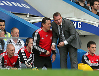 Pictured: Swansea manager Brendan Rodgers (R) with coach Colin Pascoe (L). Saturday 17 September 2011<br />