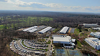 STONY BROOK, NEW YORK - APRIL 08: DRONE PICTURES - Workers scramble to erect NON-COVID-19, Coronavirus hospital tents on the Stony Brook University Campus on April 8, 2020 in Stony Brook New York.<br /> <br /> <br /> People:  Coronavirus Hospital Tents