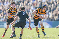 SCF2016 - RBAI vs Campbell College | Thursday 17th March 2016<br /> <br /> RBAI second row Harry Gallagher is tackled by Jack Barry-Glendinning  during the Ulster Schools Cup Final between RBAI and Campbell College at Kingspan Stadium, Ravenhill Park, Belfast, Northern Ireland. Photo credit: John Dickson / DICKSONDIGITAL