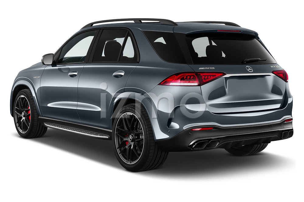 Car pictures of rear three quarter view of 2021 Mercedes Benz GLE AMG-63-S 5 Door SUV Angular Rear