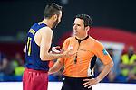 Barcelona's player Juan Carlos Navarro talking with the Referee during Liga Endesa 2015/2016 Finals 3rd leg match at Barclaycard Center in Madrid. June 20, 2016. (ALTERPHOTOS/BorjaB.Hojas)
