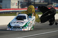 Sept. 3, 2011; Claremont, IN, USA: NHRA funny car driver Mike Neff during qualifying for the US Nationals at Lucas Oil Raceway. Mandatory Credit: Mark J. Rebilas-