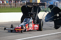 Aug 31, 2014; Clermont, IN, USA; NHRA top fuel dragster driver J.R. Todd during qualifying for the US Nationals at Lucas Oil Raceway. Mandatory Credit: Mark J. Rebilas-USA TODAY Sports