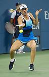 Caroline Wozniacki (DEN) battles against Camila Georgi (ITA) at the US Open being played at USTA Billie Jean King National Tennis Center in Flushing, NY on August 31, 2013