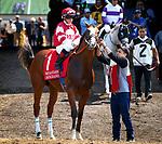 DEL MAR, CA August 11: #1 Instagrand and jockey Drayden Van Dyke before their score in the Grade II Best Pal Stakes at Del Mar on August 11, 2018 in Del Mar, California (Photo by Chris Crestik/Eclipse Sportswire)