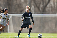 LOUISVILLE, KY - MARCH 13: Yuki Nagasato #17 of Racing Louisville FC looks to pass the ball during a game between West Virginia University and Racing Louisville FC at Thurman Hutchins Park on March 13, 2021 in Louisville, Kentucky.