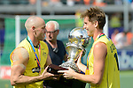 The Hague, Netherlands, June 15: Eddie Ockenden #11 of Australia hands over the World Cup Trophy to Glenn Turner #4 of Australia during the prize giving ceremony on June 15, 2014 during the World Cup 2014 at Kyocera Stadium in The Hague, Netherlands. (Photo by Dirk Markgraf / www.265-images.com) *** Local caption ***