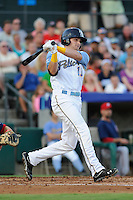 Right fielder Preston Beck (11) of the Myrtle Beach Pelicans in a game against the Potomac Nationals on Friday, August 9, 2013, at TicketReturn.com Field in Myrtle Beach, South Carolina. Myrtle Beach won, 3-2. (Tom Priddy/Four Seam Images)