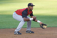August 14, 2007: Salem-Keizer Volcanoes' shortstop Sharlon Schoop anticipates a play against the Everett AquaSox in a Northwest League game at Everett Memorial Stadium in Everett, Washington.