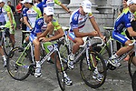 Vincenzo Nibali (ITA) and Peter Sagan (SVK) Liquigas-Cannondale wait to go on stage at the Team Presentation Ceremony before the 2012 Tour de France in front of The Palais Provincial, Place Saint-Lambert, Liege, Belgium. 28th June 2012.<br /> (Photo by Eoin Clarke/NEWSFILE)