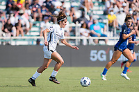 CARY, NC - SEPTEMBER 12: Angela Salem #36 of the Portland Thorns attacks the ball during a game between Portland Thorns FC and North Carolina Courage at Sahlen's Stadium at WakeMed Soccer Park on September 12, 2021 in Cary, North Carolina.