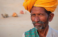 Portrait of a camel driver in the Thar Desert Rajasthan India