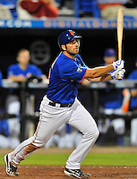 5 March 2012: New York Mets infielder Josh Satin in action during a Spring Training game against the Washington Nationals at Digital Domain Park in Port St. Lucie, Florida. The Nationals defeated the Mets 3-1 in Grapefruit League play. Mandatory Credit: Ed Wolfstein Photo
