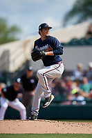 Atlanta Braves relief pitcher Luke Jackson (64) delivers a pitch during a Grapefruit League Spring Training game against the Detroit Tigers on March 2, 2019 at Publix Field at Joker Marchant Stadium in Lakeland, Florida.  Tigers defeated the Braves 7-4.  (Mike Janes/Four Seam Images)