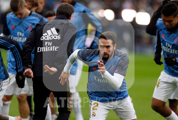 Real Madrid CF's Dani Carvajal  warms up before the Spanish La Liga match round 20 between Real Madrid and Granada CF at Santiago Bernabeu Stadium in Madrid, Spain