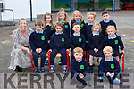 Ann  Marie Tyther with her junior infant class on their first day of school in St Josephs NS Castlemaine on Wednesday included are Sarah O'Connor, Rian Laverty, Conor Flynn, Ella O'Connor, Katie Stephens, Aoife Daly Tobin, Aaron Flynn, Clodagh Stephens, Aiden Lenihan, Rian Rochford Flynn, Maeve Ryan and Roisín O'Neill