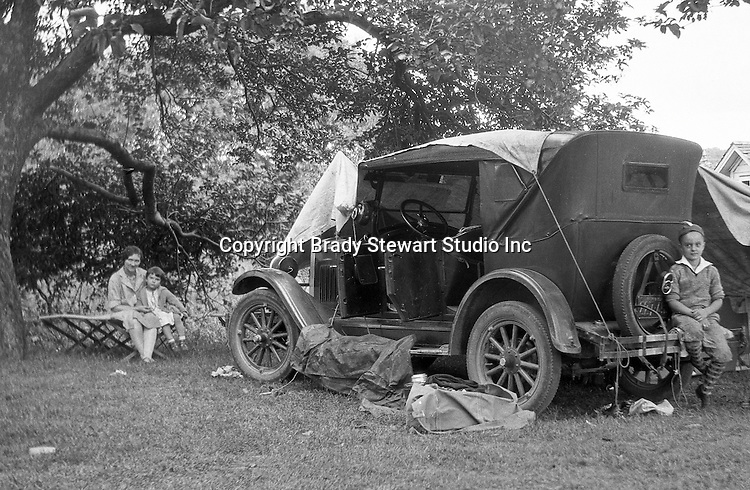 East Brady PA:  Stewart family taking a break during a vacation trip to Lake Erie.  Stewart's were traveling in their 1926 Chevrolet Touring Car.  The route took them from Wilkinsburg to Brady's Bend via Rt 28. This vacation was different from many of the others.  Instead of vacationing near North East PA, they decided to vacation on Presque Isle on Lake Erie.  Brady Jr, Sarah, and Sally in photo
