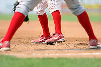 August 25 2008:  A player wearing nike cleats leading off during game at Dwyer Stadium in Batavia, NY.  Photo by:  Mike Janes/Four Seam Images