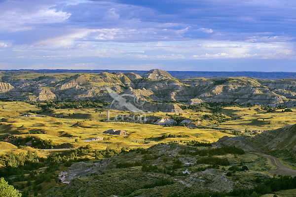 Overlooking Theodore Roosevelt National Park (south unit), from Buck Hill, North Dakota, June.