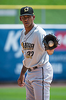 Omaha Storm Chasers starting pitcher J.C Sulbaran (32) warms up in the bullpen before the game against the Salt Lake Bees in Pacific Coast League action at Smith's Ballpark on August 16, 2015 in Salt Lake City, Utah.  Omaha defeated Salt Lake 11-4. (Stephen Smith/Four Seam Images)