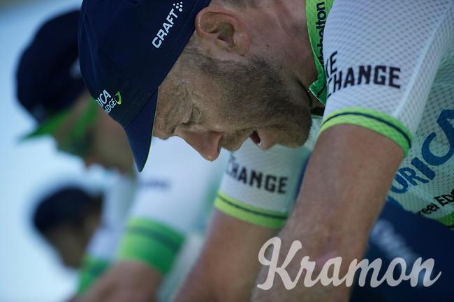 9-time (!) Canadian national TT champion Svein Tuft (CAN/Orica-GreenEDGE) & teammates warming up to a tough TT<br /> <br /> stage 15 (iTT): Castelrotto-Alpe di Siusi 10.8km<br /> 99th Giro d'Italia 2016