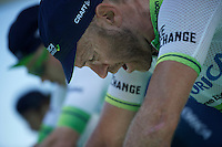 9-time (!) Canadian national TT champion Svein Tuft (CAN/Orica-GreenEDGE) & teammates warming up to a tough TT<br /> <br /> stage 15 (iTT): Castelrotto-Alpe di Siusi 10.8km<br /> 99th Giro d'Italia 2016