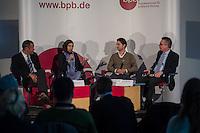 """Veranstaltung """"Begriffswelten Islam"""" in der Bundeszentrale fuer politische Bildung (bpb) mit BM Thomas de Maiziere mit den YouTubern Nemi El-Hassan (Datteltaeter) und Mirko Drotschmann (Mr.Wissen2Go) und dem Leiter der Bundeszentrale Thomas Krueger.<br /> Am Mittwoch den 3. Februar 2016 stellte die Bundeszentrale fuer politische Bildung zuammen mit den Youtube-Bloggern Nemi El-Hassan (Datteltaeter) und Mirko Drotschmann (Mr.Wissen2Go) ein neues Projekt zum Thema Islam vor. Die Blogger erklaeren in ihren von der Bundeszentrale unterstuetzten Filmbeitraegen wesenliche Begriffe des Islam vor und versuchen Vorurteile und Falschinformationen fuer Muslime und nicht-Muslime auszuraeumen.<br /> Im Bild vlnr.: Thomas Krueger, Nemi El-Hassan, Mirko Drotschmann, Thomas de Maiziere.<br /> 3.2.2016, Berlin<br /> Copyright: Christian-Ditsch.de<br /> [Inhaltsveraendernde Manipulation des Fotos nur nach ausdruecklicher Genehmigung des Fotografen. Vereinbarungen ueber Abtretung von Persoenlichkeitsrechten/Model Release der abgebildeten Person/Personen liegen nicht vor. NO MODEL RELEASE! Nur fuer Redaktionelle Zwecke. Don't publish without copyright Christian-Ditsch.de, Veroeffentlichung nur mit Fotografennennung, sowie gegen Honorar, MwSt. und Beleg. Konto: I N G - D i B a, IBAN DE58500105175400192269, BIC INGDDEFFXXX, Kontakt: post@christian-ditsch.de<br /> Bei der Bearbeitung der Dateiinformationen darf die Urheberkennzeichnung in den EXIF- und  IPTC-Daten nicht entfernt werden, diese sind in digitalen Medien nach §95c UrhG rechtlich geschuetzt. Der Urhebervermerk wird gemaess §13 UrhG verlangt.]"""