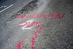 Graffiti on the road on the Chapel Road in Clogherhead. 18/05/2020.<br /> Picture Thos Caffrey / Newsfile.ie<br /> <br /> All photo usage must carry mandatory copyright credit (© Newsfile | Thos Caffrey)