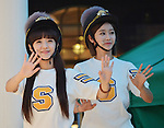 """So-Yul and Gum-MiGum-Mi(CRAYON POP), July 22, 2015 : Soyul(L) and Gummi of Crayon Pop attend the promotion event for their new single """"ra ri ru re"""" at Lazona Kawasaki Plaza in Kawasaki, kanagawa prefecture, Japan, on July 22, 2015. They performed the opening act for Lady Gaga's """"ArtRave: The Artpop Ball concert tour"""" in twelve cities across North America on 2014."""