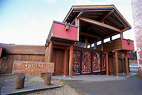 Alert Bay, Cormorant Island, BC, British Columbia, Canada - U'mista Cultural Centre, Front Entrance with Carved Doors